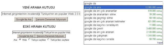 Google yeni arama kutusu